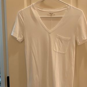 White Madewell V-Neck with Front Pocket